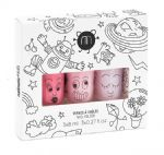 'Cosmos' set of 3 (Pink/Powder Pink/Powder Pink Glitter) - nailmatic® kids - water based nail polish